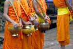 Monks with their bowls.