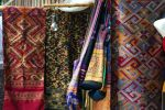 Woven fabrics for sale in market at Luang Prabang