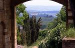 View of Tuscan countryside from San Gimignano