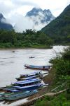 Looking up the Nam Ou river from Muang Ngoi