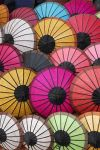 Umbrellas for sale in the Luang Prabang market